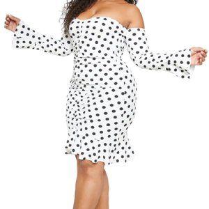 PRETTYLITTLETHINKG  Polka Dot Bodycon Ruched Dress